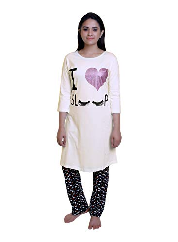 TRAZO Printed Round Neck Full Sleeve Long Cotton Off White, Coral, Pink & Black T Shirts for Women Combo 4-3XL