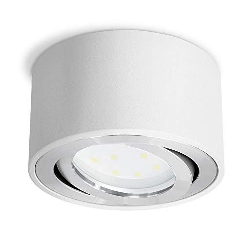 SSC-LUXon CELI-1W LED Aufbauspot weiß rund - flach & schwenkbar - Aufbaustrahler inkl. wechselbarem LED Modul 5W warmweiß 230V