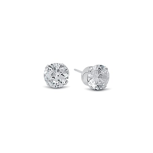 Round Cut Clear Simulated Diamond CZ Sterling Silver Stud Earrings
