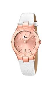 Lotus 0 - Reloj de cuarzo para mujer, con correa de cuero, color blanco de Lotus