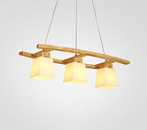 Holz-kronleuchter (Pendelleuchten Holz Kronleuchter Esstisch Holz Hängelampe LED Wohnzimmer Schlafzimmer Deckenleuchte E27 Glas Pendel Lampe [Energieklasse A ++] ( Farbe : 3W ))