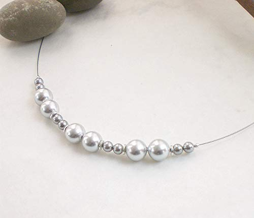 Graue Muschelkern Kette 925 Silber, Perlenkette silbergrau rund Sterlingsilber -