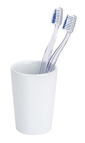 WENKO 21695244 Zahnputzbecher Coni Weiß - Zahnbürstenhalter für Zahnbürste und Zahnpasta, Keramik, 7.5 x 10.7 x 7.5 cm, Weiß