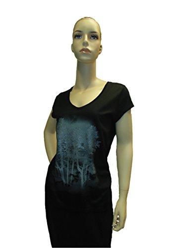 Mexx T-Shirt mit Glitzerdruck Wald-Motiv-Schwarz-XL