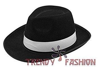 Herren Kostüm Hut - Al Capone Gangster 20er Jahre Filzhut Michael Jackson - Schwarz, Keine Angaben (Gangster Kostüm Für Mädchen)