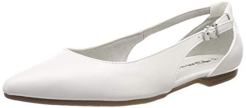 Tamaris Damen 1-1-22175-22 108 Geschlossene Ballerinas, Weiß (White Matt, 40 EU