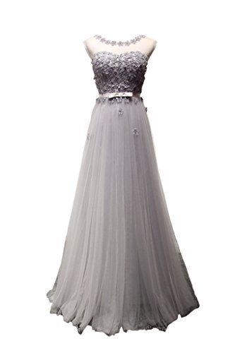 Prom Style Schlank A-linie Tuell Abendkleider Ballkleider lang mit Blummen Promkleider Partykleider Silber