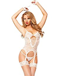 Sereney Mujeres Lencería Erótica Sexy Esposas Restringido Babydoll  Transparente Lace up Bodysuit Traje Cosplay con Tanga 50e3eb4b27ac