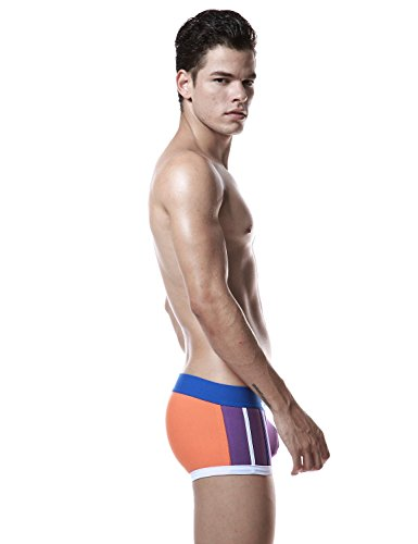 SEOBEAN Herren Low Rise Sexy Trunk Boxer Brief Slip Unterwäsche 2573 Purple/Orange