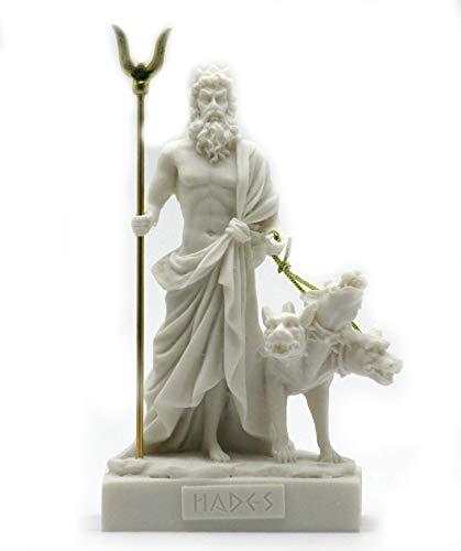 Alabaster Statue Hades Pluto griechischen Gott der Unterwelt & Cerberus Figur 5.1΄ ΄ weiß
