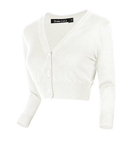 Damen V-Ausschnitt Kurz-Strickweste Strickjacke (M, weiß)