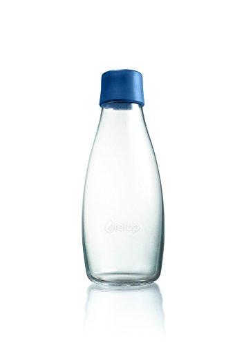 Retap ApS Wiederverwendbare Wasserflasche mit Verschluss - 0,5 Liter, Deckelfarbe:Dunkelblau