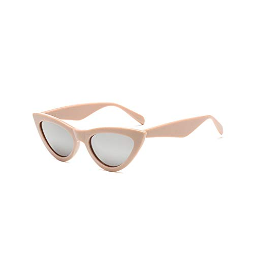 Sportbrillen, Angeln Golfbrille,NEW Cute Sexy Retro Cat Eye Sunglasses Women Black White Triangle Vintage Sun Glasses For Male Female UV400 Beige