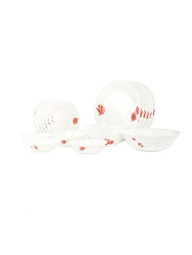 Corelle Asia Rosetta Glass Dinner Set,  21-Pieces,  White/Red  available at amazon for Rs.8851