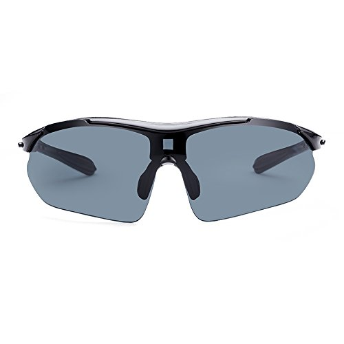 iLove EU Herren Mode Polarisierte Sonnenbrille Sportbrille Halbrand Sport Ski Fahren Reiten Brille Schutzbrille Sonnenbrillen Grau Schwarz (Schwarz Polarisierte Ski-schutzbrillen)