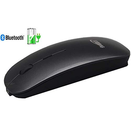 TSMINE Bluetooth Mouse Wiederaufladbare Slim Silent Wireless Mäuse für MacBook, iMac, Computer, PC, Laptop, Windows/Android Tablet, integrierte Batterie (Standby von 180 Tagen) - Raum Grau - Wiederaufladbare Bluetooth Laser Maus