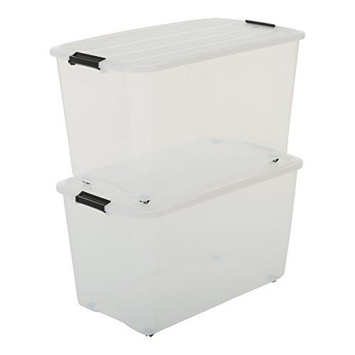 Iris, 2er-Set Rollerboxen/Aufbewahrungsboxen 'Top Box Roller Box', TBR-70, 4 Rollen, Plastik, transparent, 70 L, 68 x 39 x 38,5 cm (Rollen Iris)