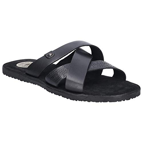 Base London Mens Chariot Waxy Slip On Leather Sandals - Leder-rolled Strap