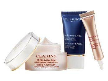 Clarins Multiactive Set di Crema da Giorno, Crema da Notte e Balsamo di Bellezza Fulmine - 1 Prodotto