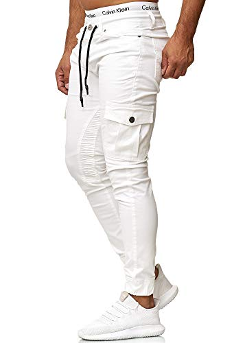 OneRedox Herren Chino Pants | Jeans | Skinny Fit | Modell 3207 Weiß 33/32 Coole Herren Jeans