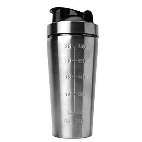 KINTRADE Edelstahl-Isolierung Sport Fitness-Tasse 750 ml Protein-Pulver-Shaker-Mixer frei Mixer Silber