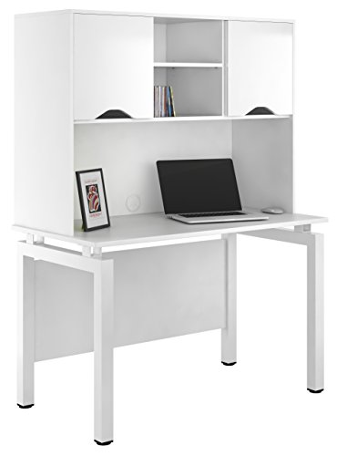 Kit Out My Office UCLIC Bench Desk Cupboard with 2 Door Upper Storage, Metal, White Gloss, 1200 mm