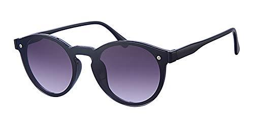 Eyewear World Runde Sonnenbrille, Gradient flach Reflektierende zweifarbig schwarz Objektiv, frei gelb Halskordel