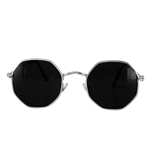 MaFs Geometric Retro OCTAGONAL Aviator Sunglasses | Perfect For Daily Use | Uv Proected Sunglasses Unisex Sunglasses | Stylish, Trendy, Comfortable | For Men And Women DSC_120 - Black