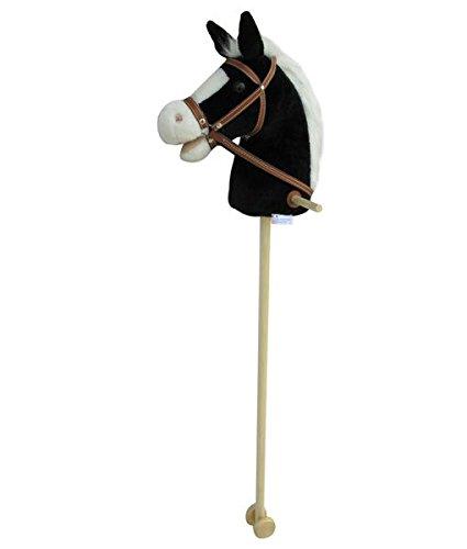 Sweety Toys 5093 Steckenpferd BLACKY super-süss ,Farbe schwarz mit weißer Mähne -sehr edel- mit Funktion. Ohr drücken, Galopp und Pferdegewieher erklingt ,Größe ca.100 cm Top Qualität mit Haltegriffen und Laufrollen aus Holz