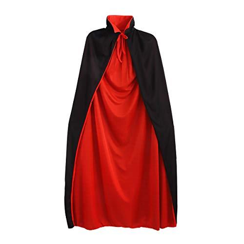 WINOMO 1.4 m Cool einschichtige Stand Kragen Erwachsene Umhang Cape Cosplay Umhang Prop für Halloween-Masquerade (Schwarz + - Umhang Kostüm