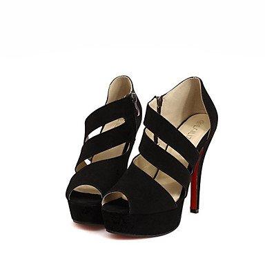 LvYuan Damen-Sandalen-Kleid Lässig-PU-Stöckelabsatz-Komfort-Schwarz Black