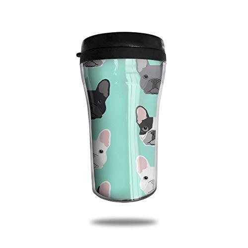 French Bulldog Puppy Travel Coffee Mug Delicate Printing Tragbarer Saugnapf, Nahrungsmittelgrad-ABS-Isolierschale (8,8 Unzen) -