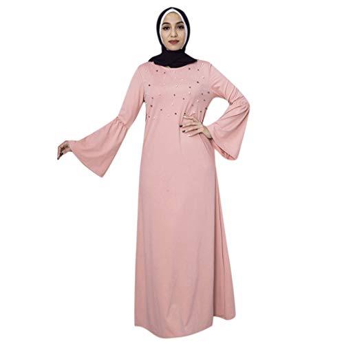 Andouy Abaya Muslimische Islamische Kleidung Damen Mode Perle Elegante Trompete Ärmel Langes Kleid(XL(40).Rosa) -