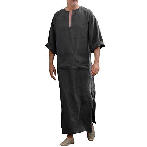Zolimx Herren Ethnische Roben Lose Gestreiften Langarm mit Kapuze Vintage V-Ausschnitt Casual Kleid Kaftan (Schwarz 1, M)
