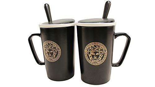Deko-König 2 teiliges Tassen Set mit Deckel (schwarz)