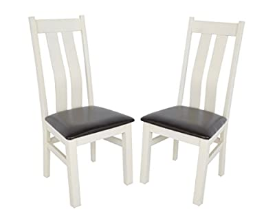 Pair Of Premium Chelsea Dining Chairs - High Wooden Back - Solid Wood & Leather - Cream - cheap UK light store.