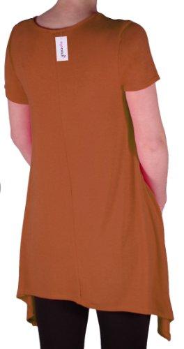 EyeCatch Oversize - Haut long asymétrique manches courtes grandes tailles - Geneva - Femme - Taille UK14 /28 Rouille