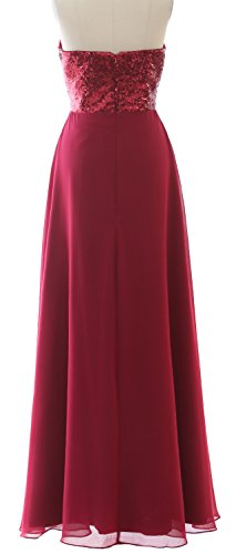 MACloth Elegant Strapless Long Bridesmaid Dress Sequin Chiffon Party Formal Gown Wine Red