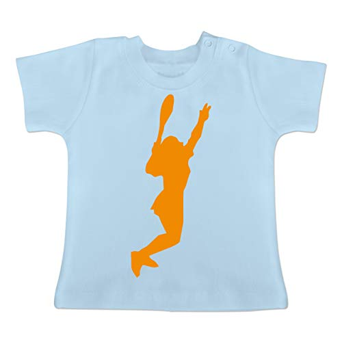 Sport Baby - Tennis gelb - 6-12 Monate - Babyblau - BZ02 - Baby T-Shirt Kurzarm