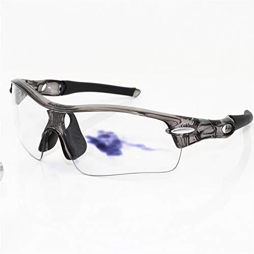FELICIOO Polarisierte Reitmotorrad-Sonnenbrille mit 5 Linsenkits, Farbwechsel bei jedem Wetter (Farbe : Grau)