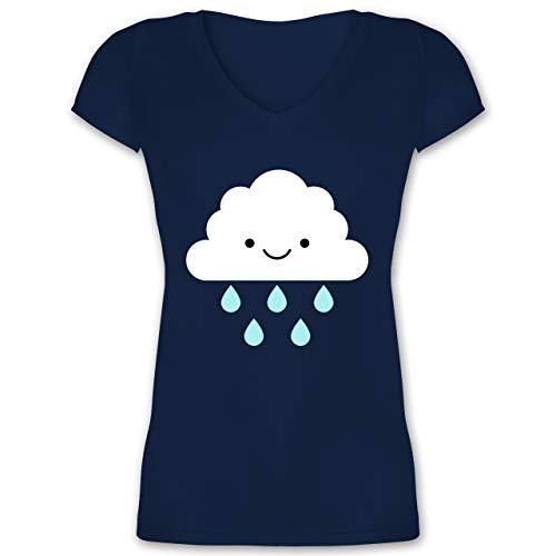 Karneval & Fasching - Regenwolke Karneval Kostüm - M - Dunkelblau - XO1525 - Damen T-Shirt mit V-Ausschnitt