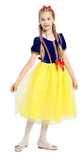 Cloud Kids Mädchen Prinzessin Kleid Halloween Cosplay Kostüm Karneval Verkleidung Party Kleid Gelb Körpergröße 130-140cm (Tanzabend Ballett Kostüm)