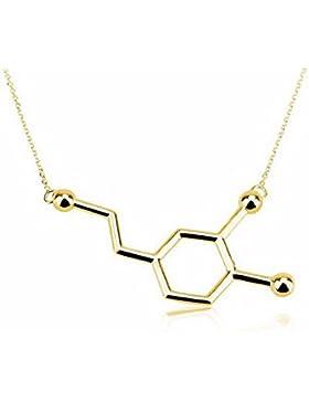 MESE London Goldener Dopamin Anhänger Chemie Struktur Glück Halskette - Elegante Geschenkverpackung