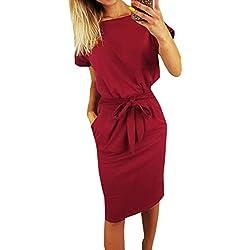 Ajpguot Verano Mujer Midi Vestidos Color Sólido Vestido de Cadera Cuello Redondo Manga Corta Vestido con Cinturón Elegante Bodycon Vestidos de Fiesta (M, 0789 Vino Tinto)