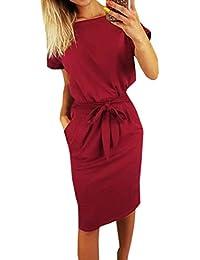 Ajpguot Estivo Vestiti da Donna Rotondo Collo Abiti al Ginocchio da Partito Elegante Abito a Tubino Moda Mini Vestito di Colore Solido