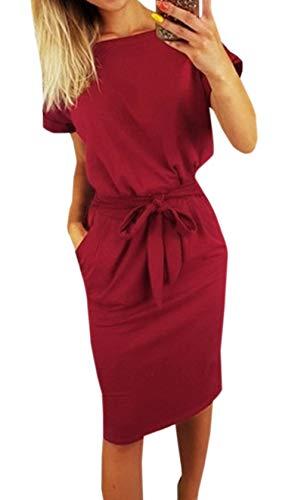 Ajpguot Estivo Vestiti da Donna Rotondo Collo Abiti al Ginocchio da Partito Elegante Abito Tubino Moda Mini Vestito di Colore Solido