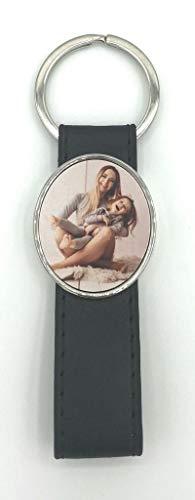 Saphirdesign Schlüsselanhänger mit Foto / Lederband aus Metal mit Wunsch-Motiv-Bild-Logo. Geeignet als Werbe-Erinnerungs-Geschenk. Das perfekte individuelle Fotogeschenk. ( Oval einseitig schwarz )