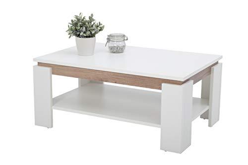 Wohnzimmer-moderne Sofa-tisch (Couchtisch Tim II, Holzwerkstoff, weiß/wildeiche, 90x60x41 cm)