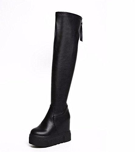 Jugend Schwarz Patent Leder Schuhe (KAFEI Damen Stiefel von Lange-barrel das Knie Herbst und Winter innerhalb von 6 cm hohe Elastizität und Steigung zu nähen 36 gestiegen)