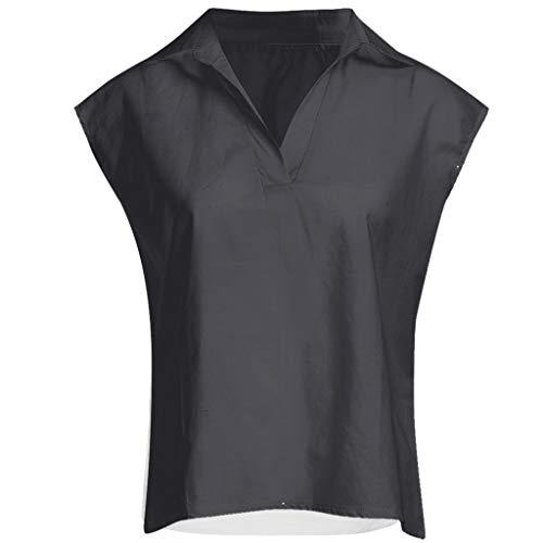 Frauen Arbeiten Lose Ärmellose Leinen Tägliche Feste Tägliche Beiläufige Hemd Blusen Oberseiten Um Einfarbiges, Ärmelloses T Shirt Mit V Ausschnitt Aus Baumwolle Und Leinen -